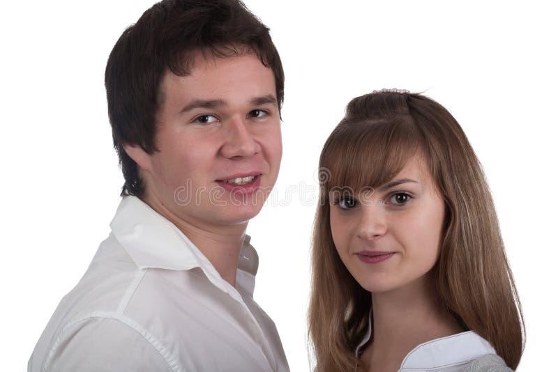 Retrato de um par feliz novo imagem de stock