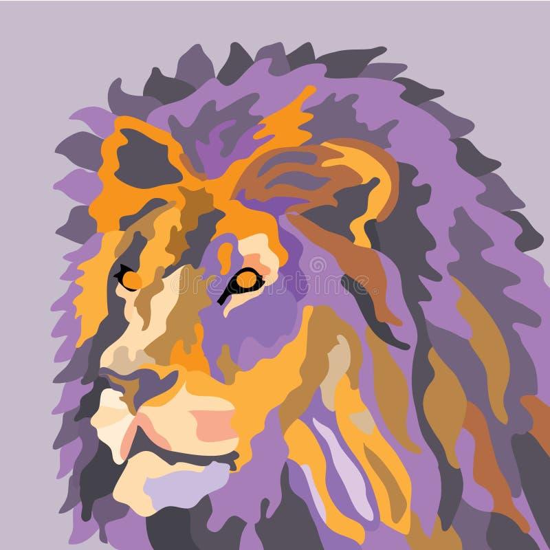 Retrato de um ponto baixo roxo alaranjado de tiragem do pop art do sumário do leão poli ilustração royalty free
