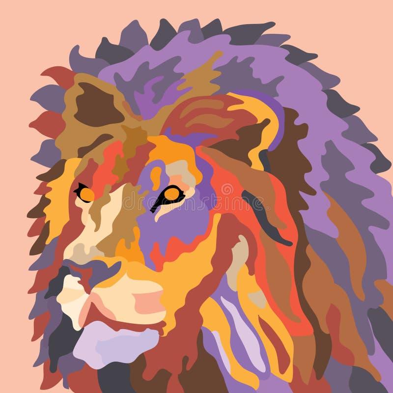 Retrato de um ponto baixo roxo vermelho de tiragem do pop art do sumário do leão poli ilustração royalty free