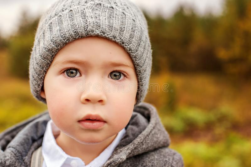 Retrato de um rapaz pequeno bonito em um chapéu e em um revestimento cinzentos com os olhos bonitos enormes fotografia de stock royalty free