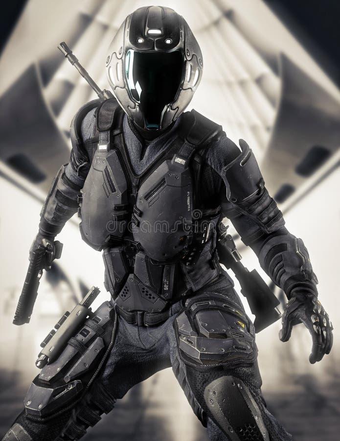 Retrato de um soldado fêmea blindado futurista pronto para a batalha com um fundo arquitetónico da ficção científica do sumário ilustração royalty free
