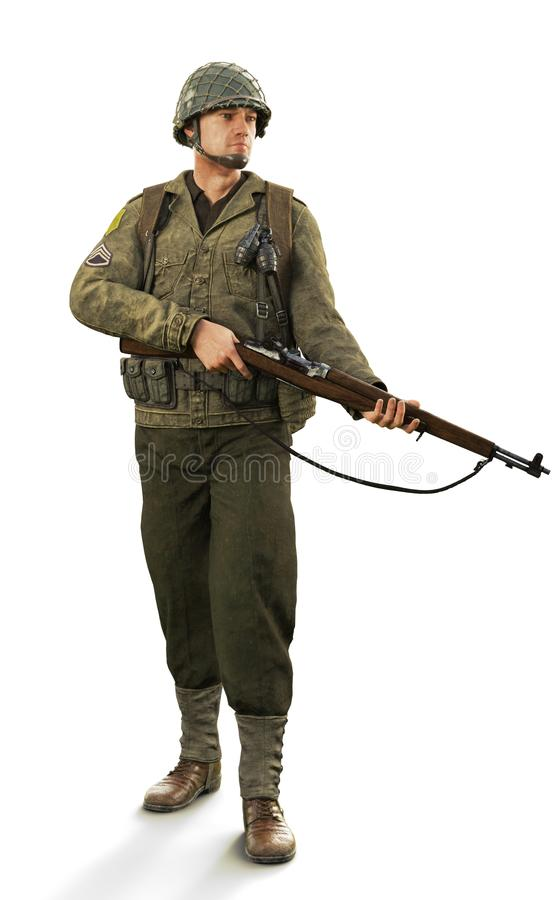 Retrato de um soldado masculino não-informado do combate da guerra mundial 2 em um fundo branco isolado ilustração do vetor