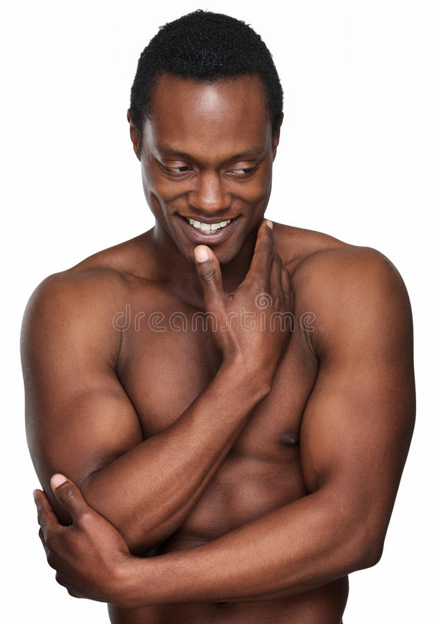 Sorriso americano africano atlético do homem fotografia de stock