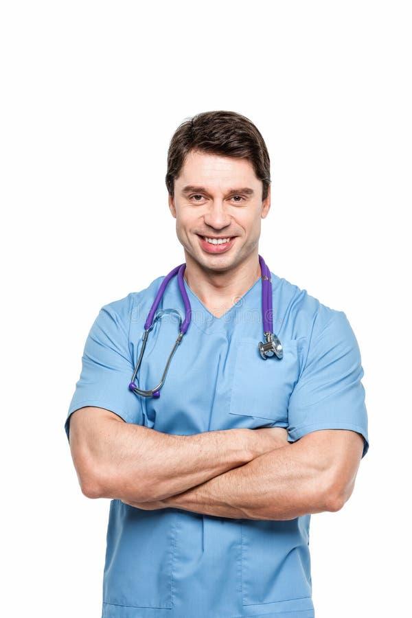 Retrato de um sorriso amigável do doutor fotografia de stock royalty free