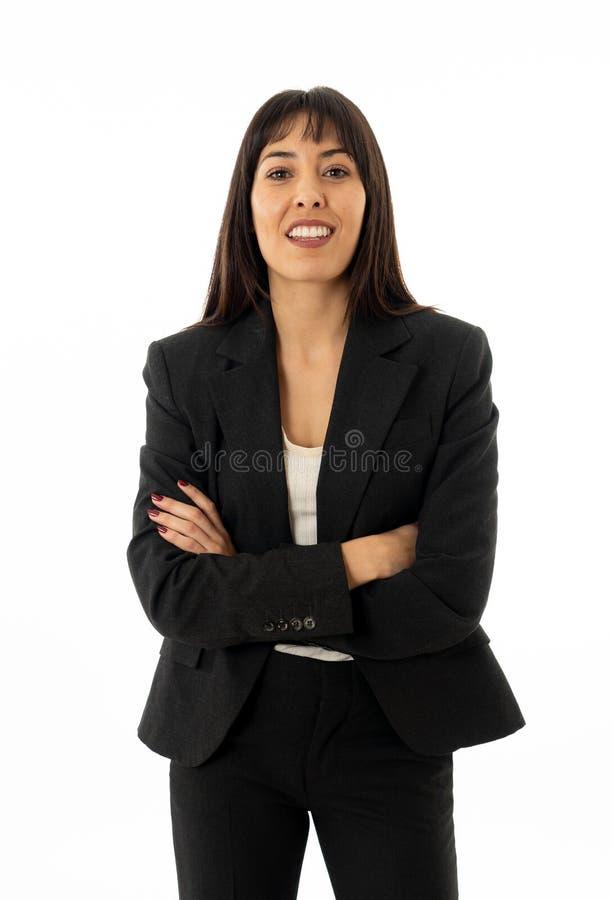 Retrato de um sorriso bonito e seguro novo da mulher de negócio Isolado no fundo branco imagens de stock royalty free