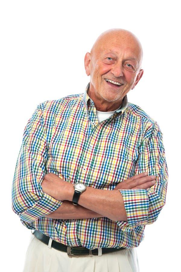 Retrato de um sorriso feliz do homem sênior imagens de stock
