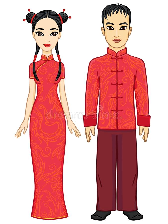 Retrato de uma família chinesa da animação na roupa tradicional ilustração stock
