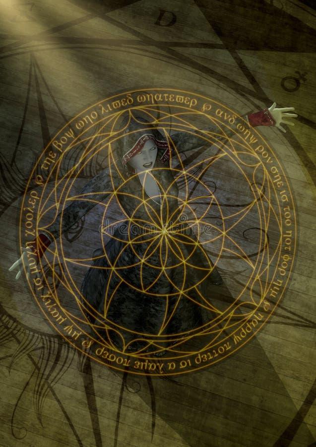 Retrato de uma feiticeira do goth que faz a um fulgor o círculo mágico ilustração do vetor
