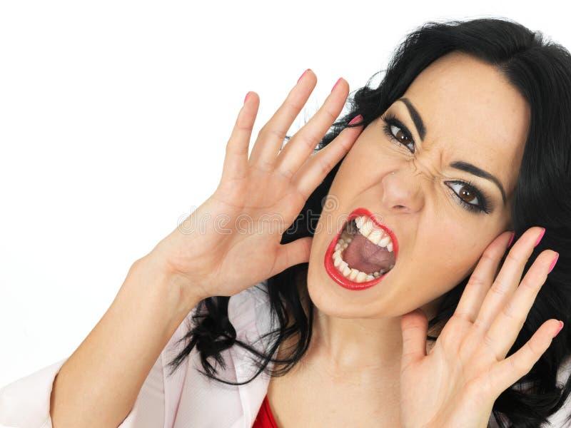 Retrato de uma gritaria frustrante furioso irritada da jovem mulher em uma raiva fotografia de stock royalty free