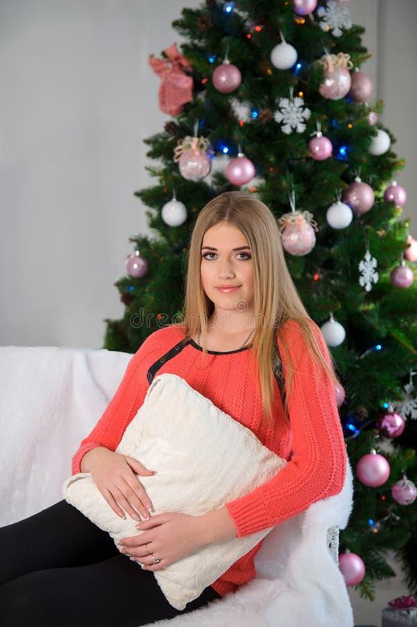 Retrato de uma jovem mulher bonita em um Natal do estúdio fotos de stock