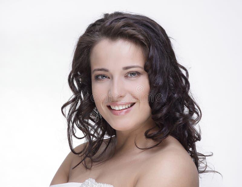Retrato de uma jovem mulher com composição isolada no branco imagem de stock royalty free