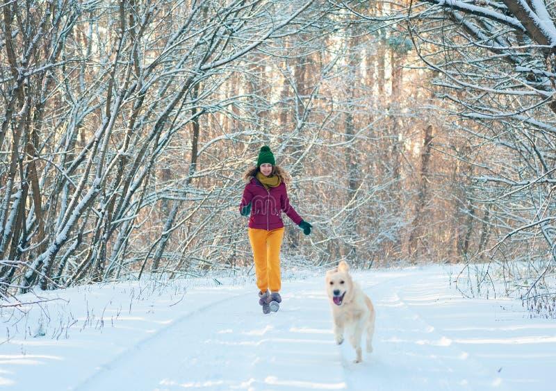 Retrato de uma jovem mulher com o cão na caminhada do inverno foto de stock