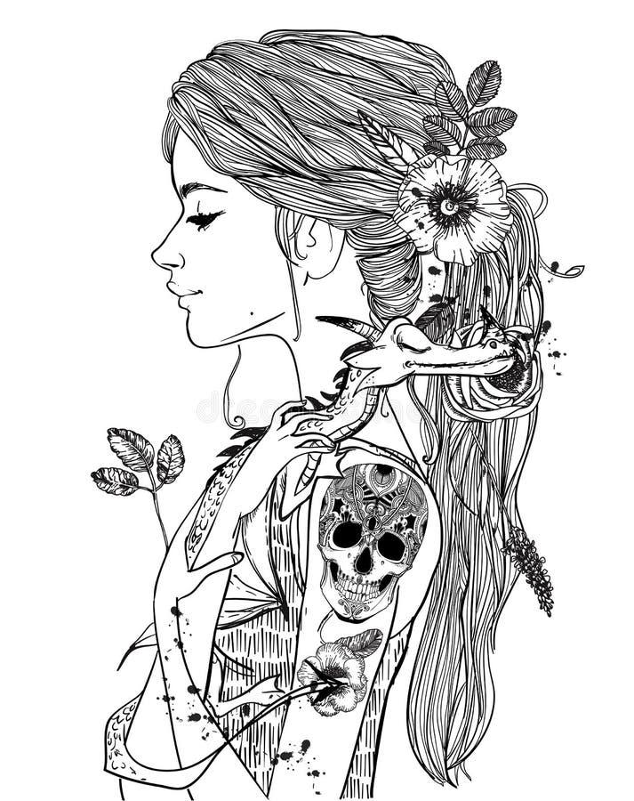 Retrato de uma jovem mulher com pouco dragão ilustração stock