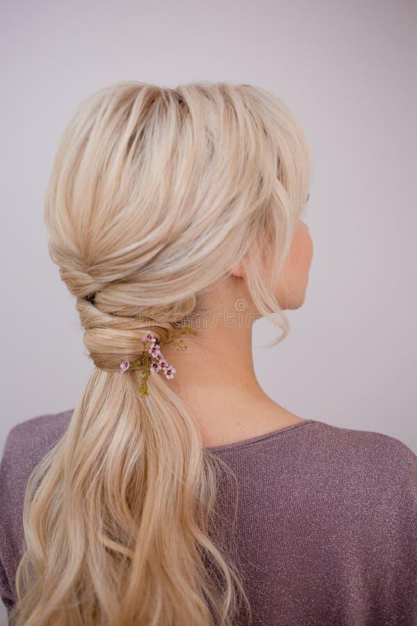Retrato de uma jovem mulher elegante com cabelo louro Penteado na moda fotos de stock royalty free