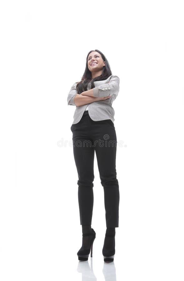 Retrato de uma jovem mulher moderna Vista de baixo de imagem de stock royalty free