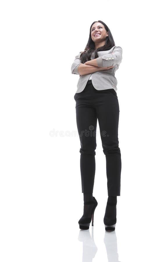 Retrato de uma jovem mulher moderna Vista de baixo de fotos de stock