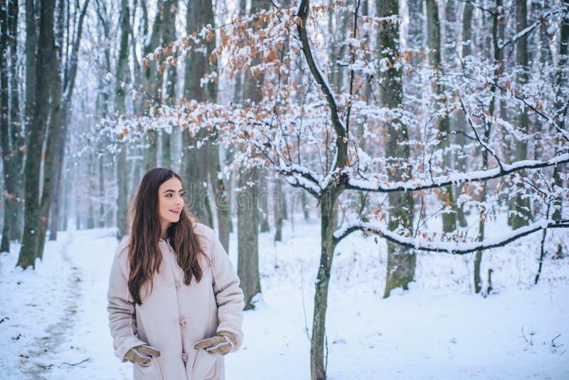Retrato de uma jovem mulher na neve que tenta aquecer-se E foto de stock