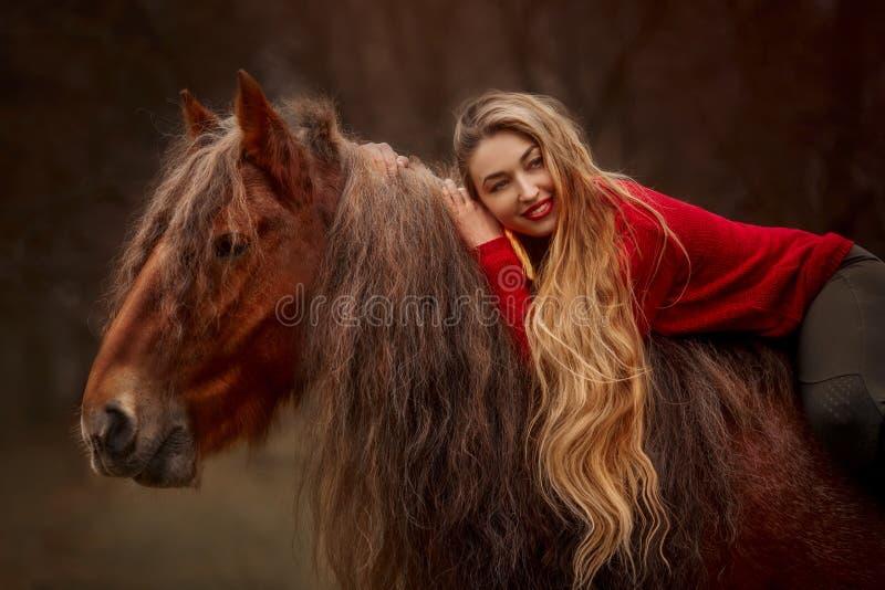 Retrato de uma linda jovem com cavalo Tinker fotografia de stock royalty free