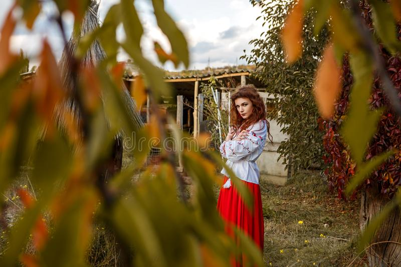 Retrato de uma menina bonita no traje eslavo nacional imagem de stock royalty free