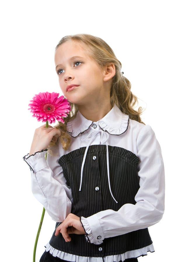Retrato de uma menina bonita nova com flor foto de stock royalty free