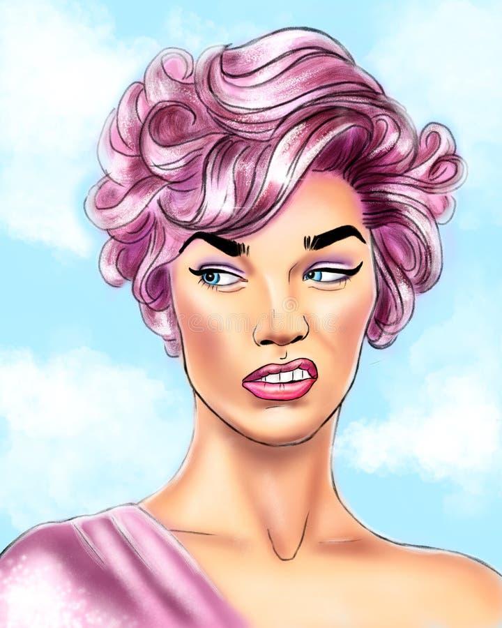 retrato de uma menina com cabelo cor-de-rosa ilustração do vetor