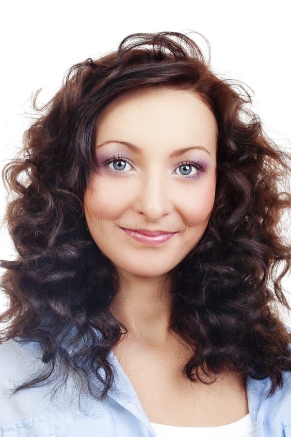 Retrato de uma menina com cabelo curly foto de stock royalty free