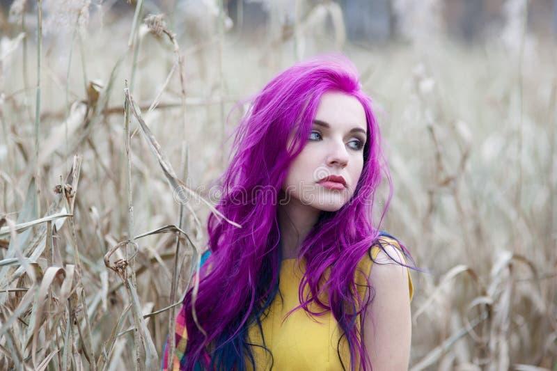 Retrato de uma menina com cabelo roxo imagem de stock royalty free