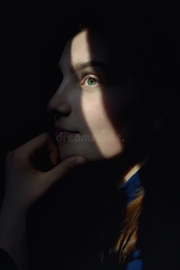 Retrato de uma menina com raios de Sun na cara fotografia de stock royalty free