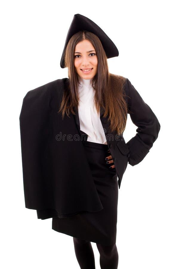 Retrato de uma menina do estudante de graduação foto de stock royalty free