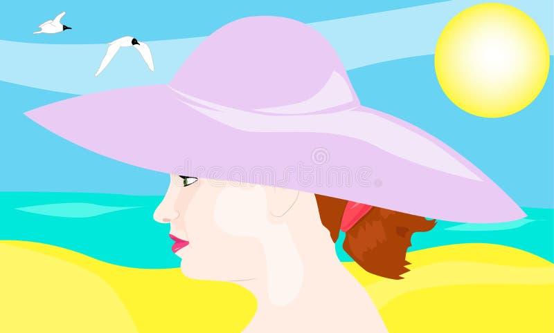 Retrato de uma menina em um chapéu no fundo da praia ilustração stock