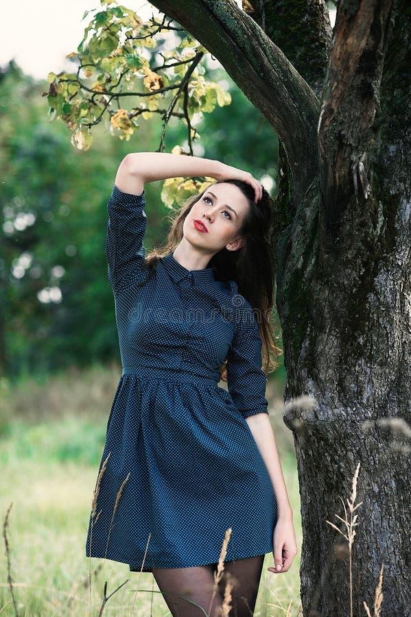 Retrato de uma menina feliz e sorrindo do brunnete fotos de stock royalty free