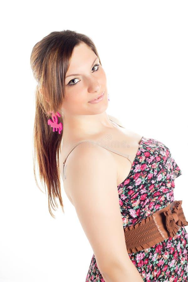 Retrato de uma menina loura bonita foto de stock royalty free