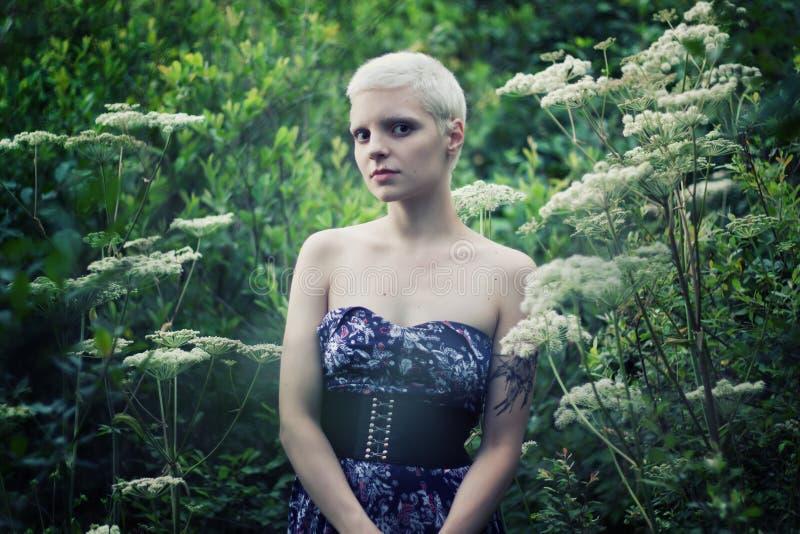 Retrato de uma menina loura nova feita na floresta foto de stock