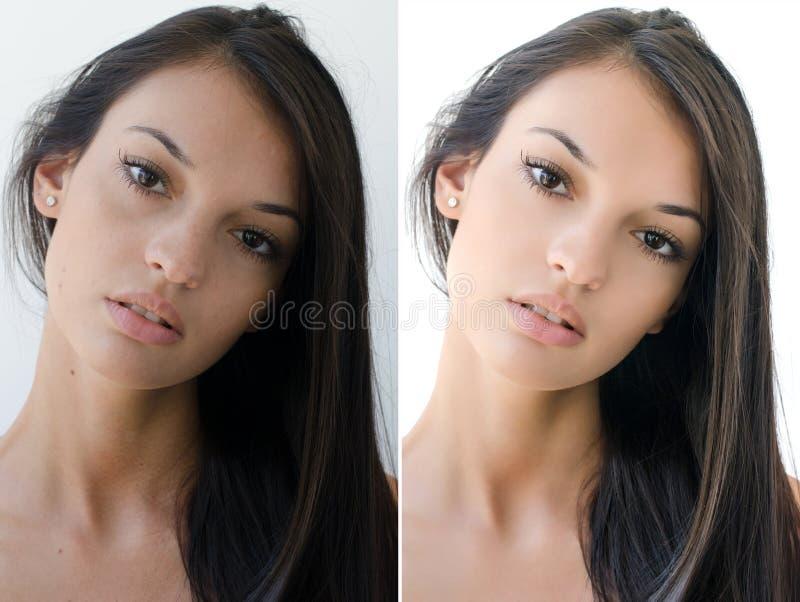 Retrato de uma menina moreno bonita antes e depois do retoque com photoshop foto de stock royalty free