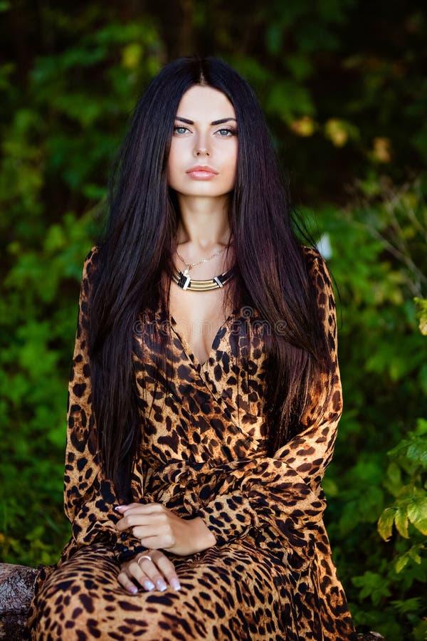 Retrato de uma menina moreno bonita sensual 'sexy' com hai longo imagem de stock royalty free