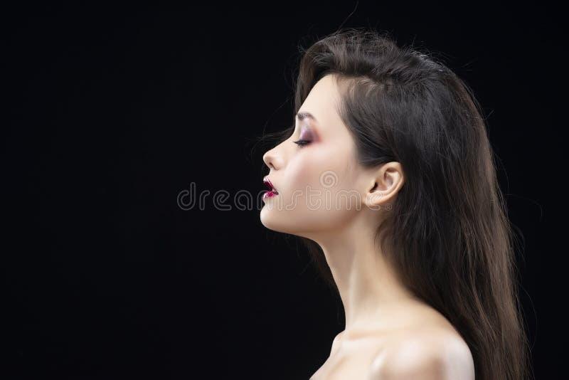 Retrato de uma menina moreno glamoroso bonita lateralmente Shimme foto de stock royalty free