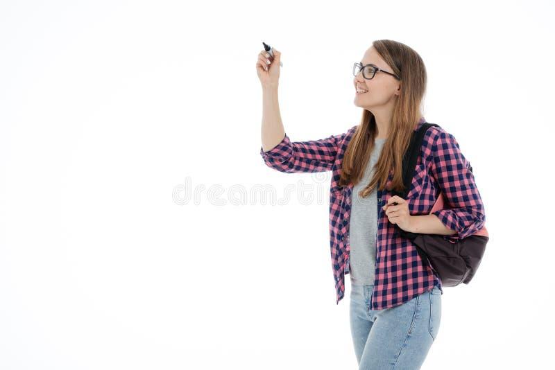 Retrato de uma menina nova do estudante em um fundo branco imagens de stock royalty free
