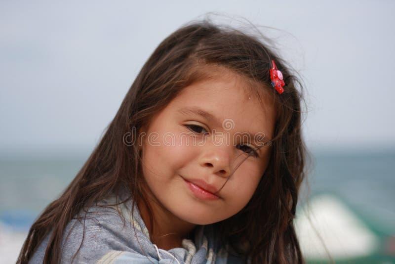 Retrato de uma menina pensativa fotos de stock royalty free