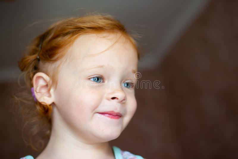 Retrato de uma menina de riso feliz do ruivo bonito fotos de stock royalty free