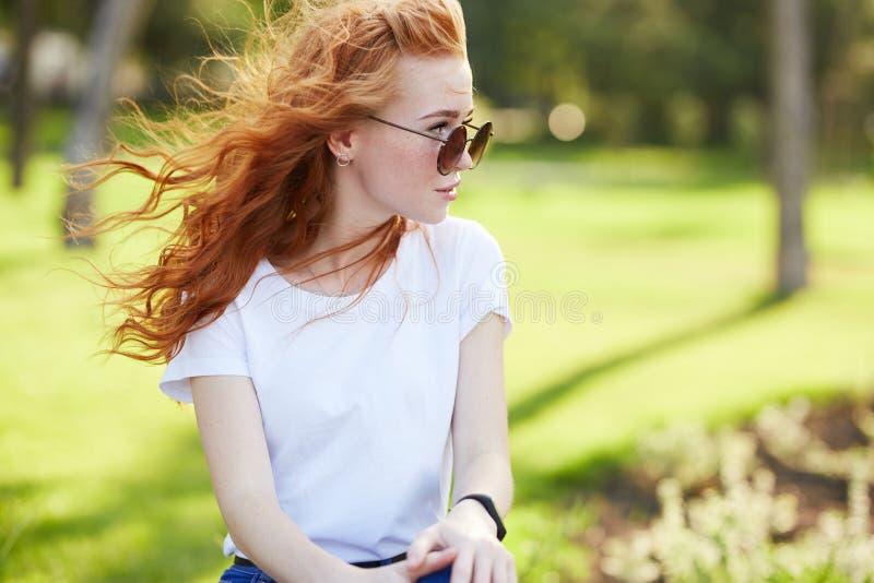 Retrato de uma menina ruivo bonita que se sente no parque e se olhe afastado O vento desenvolve seu cabelo e os sorrisos da menin foto de stock royalty free