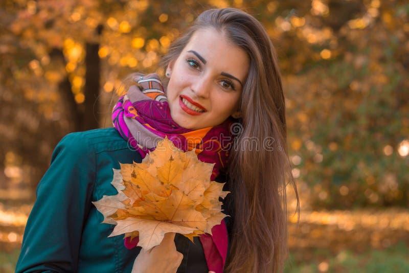 Retrato de uma moça encantador com as folhas no close-up das mãos imagens de stock royalty free