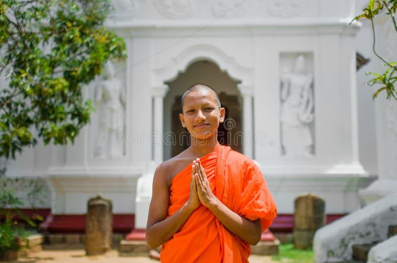 Retrato de uma monge budista imagens de stock