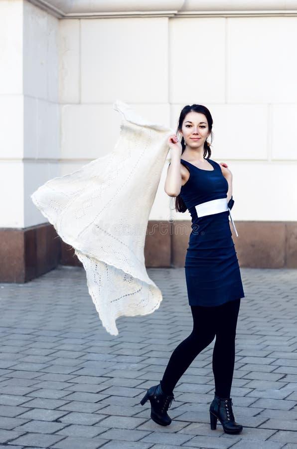 Retrato de uma mulher bonita com cabelo longo e um voo do lenço imagem de stock royalty free