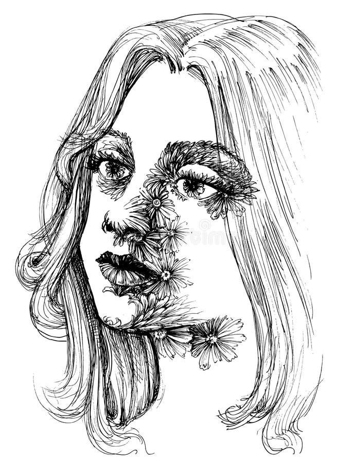 Retrato de uma mulher bonita nova ilustração do vetor