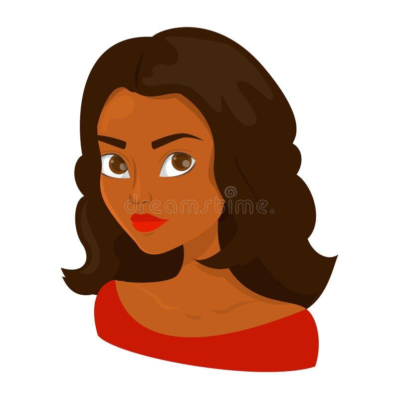 Retrato de uma mulher bonita nova com cabelo escuro ilustração do vetor