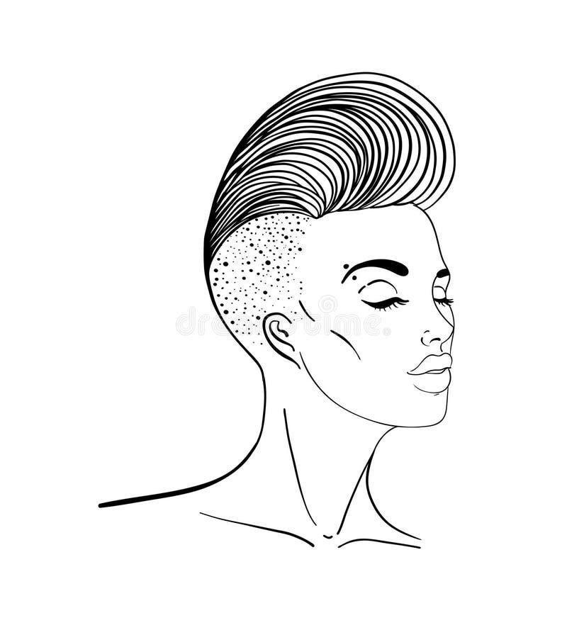 Retrato de uma mulher bonita nova com lado curto corte de cabelo barbeado Cabelo colorido arco-íris Conceito de LGBT Ilustração d ilustração do vetor