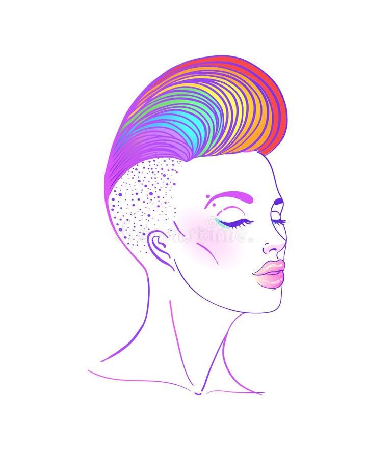 Retrato de uma mulher bonita nova com lado curto corte de cabelo barbeado Cabelo colorido arco-íris Conceito de LGBT Ilustração d ilustração stock
