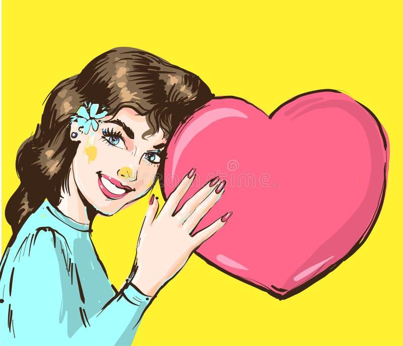 Retrato de uma mulher bonita nova que guarda o coração grande Flor azul no cabelo Ilustração para anunciar, cartaz, bunner ilustração royalty free