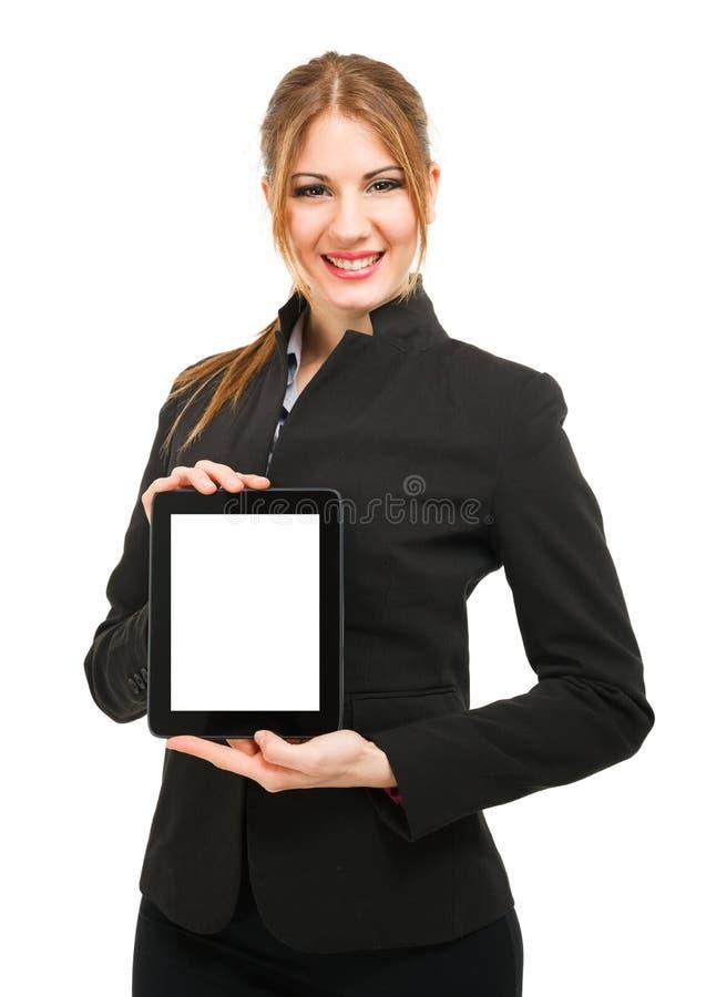 Download Mulher Que Guardara Uma Tabuleta Foto de Stock - Imagem de amigável, feliz: 29837764