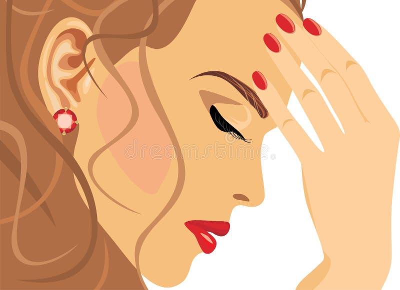 Retrato de uma mulher bonita triste ilustração stock